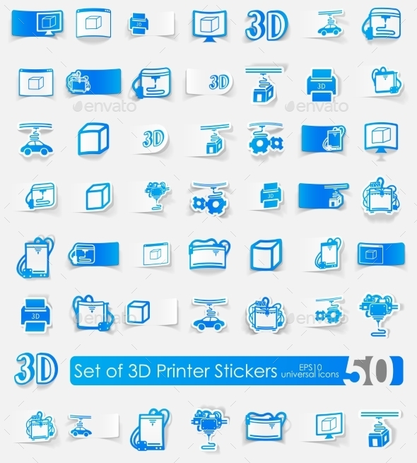 GraphicRiver Set Of Three d Printer Stickers 11820392