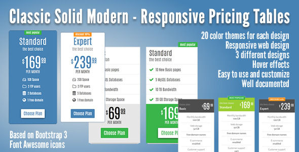 CodeCanyon Classic Solid Modern Responsive Pricing Tables 11805419