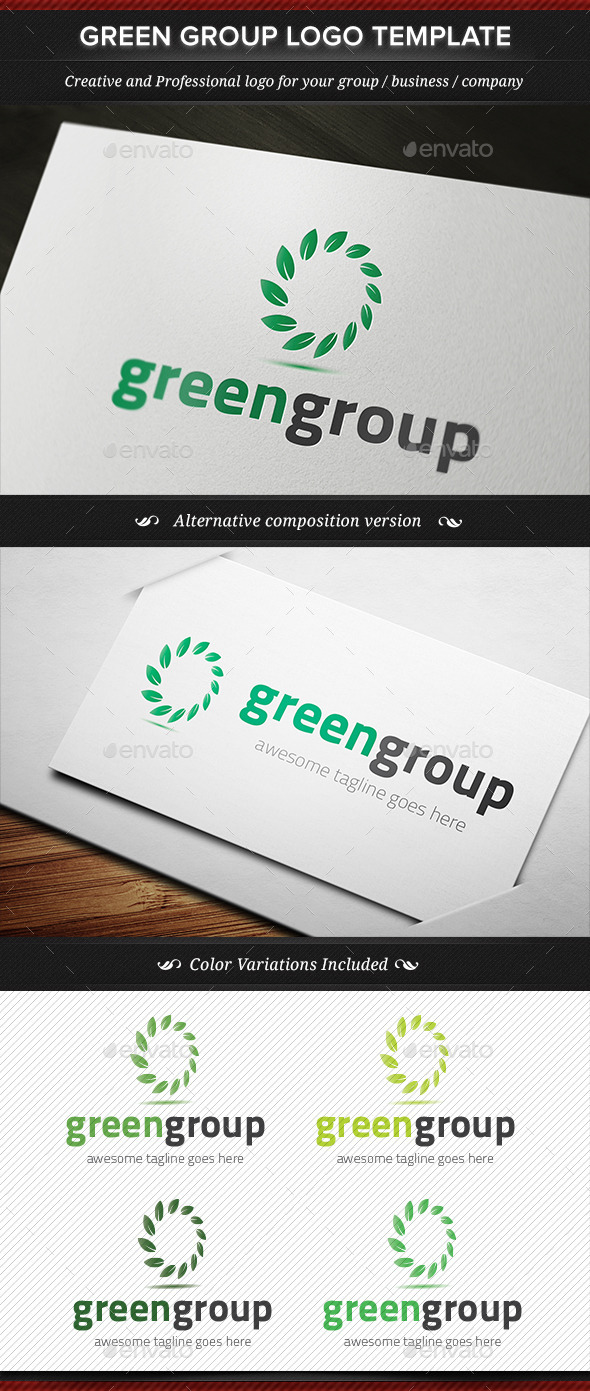 GraphicRiver Green Group Logo Template 11821799