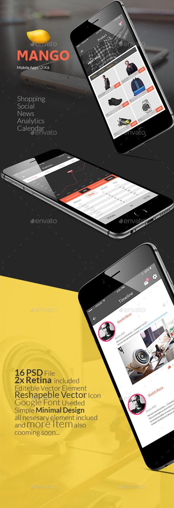 GraphicRiver Mango IOS Mobile UI Kit 11823192