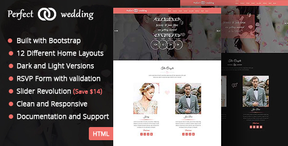 ThemeForest Perfect Wedding One Page Wedding Template 11769643