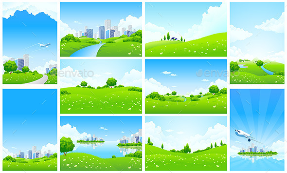 GraphicRiver Fresh Green Landscape Backgrounds Set 11823349