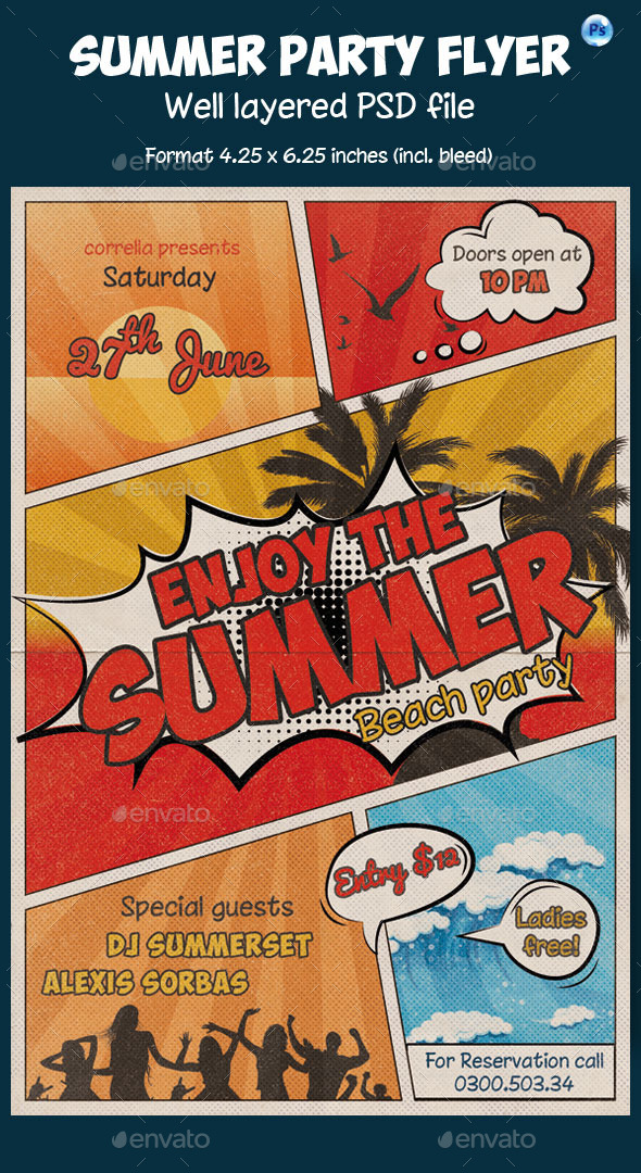 GraphicRiver Summer Flyer Comic Style 11823352