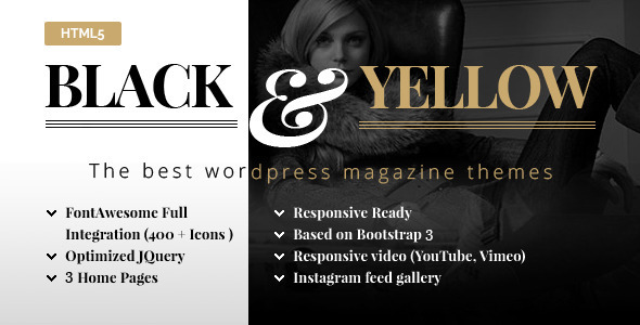 ThemeForest Black & Yellow HTML5 Magazine Template 11823527