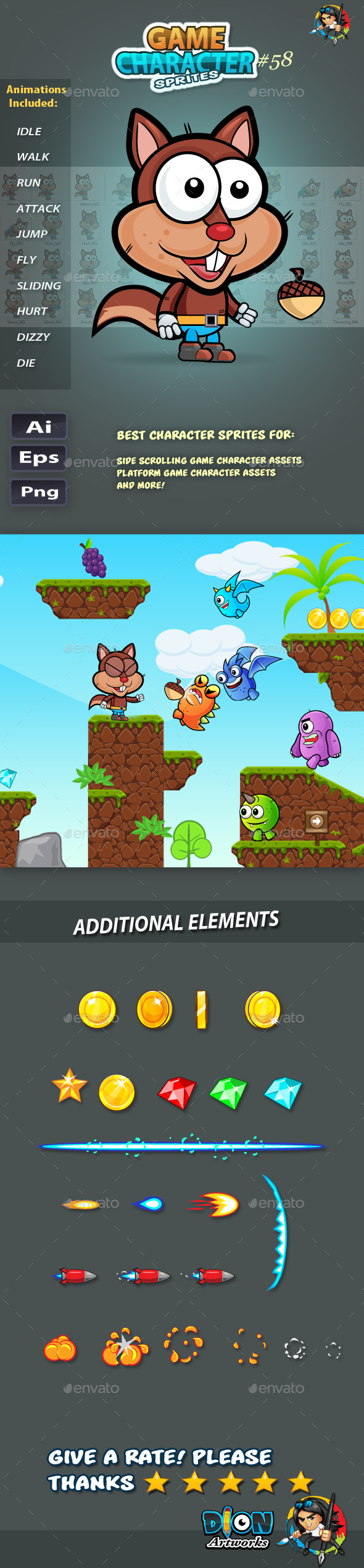 GraphicRiver Squirrel 2D Game Character Sprites 58 11823592