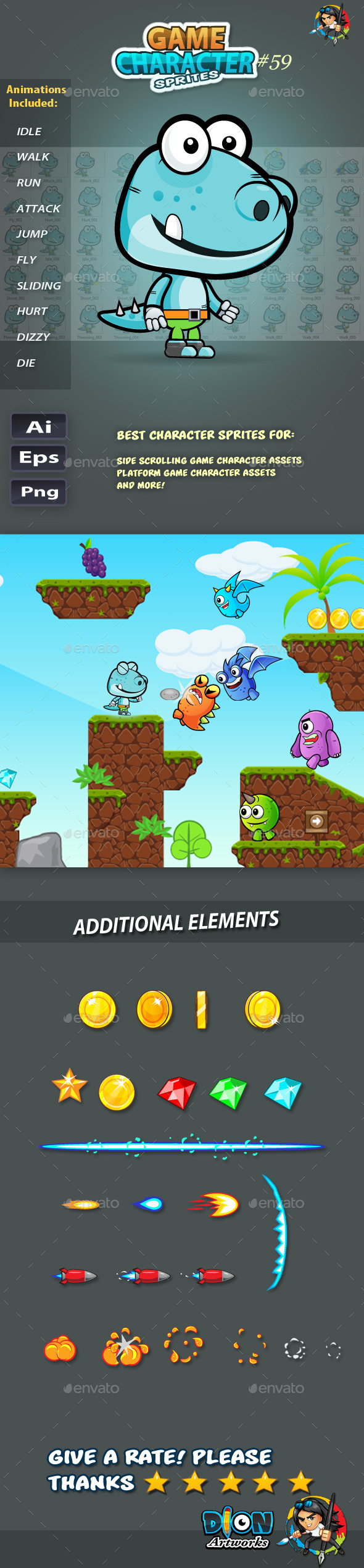 GraphicRiver Dinosaur 2D Game Character Sprites 59 11824116