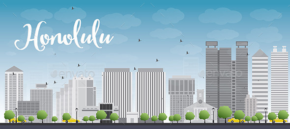 GraphicRiver Honolulu Hawaii Skyline with Grey Buildings 11824439