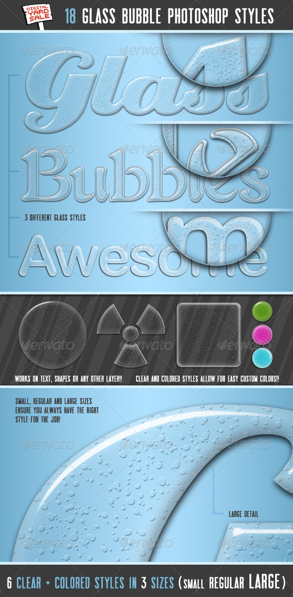 18 Glass Bubble Photoshop Layer Styles - Text Effects Styles