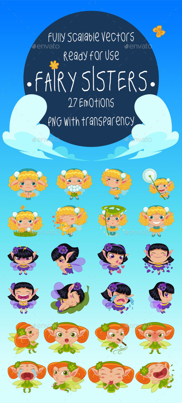 GraphicRiver Fairy Sisters Emotion Pack 11825093
