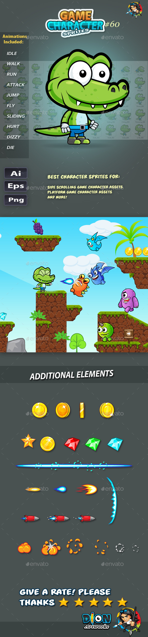 GraphicRiver Crocodile 2D Game Character Sprites 60 11825173