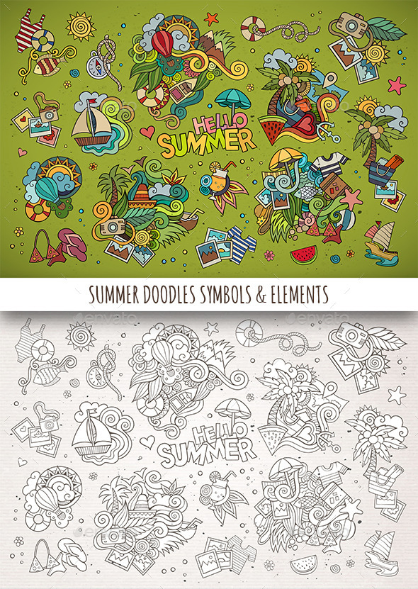 GraphicRiver Hand Drawn Summer Doodle Symbols 11825295