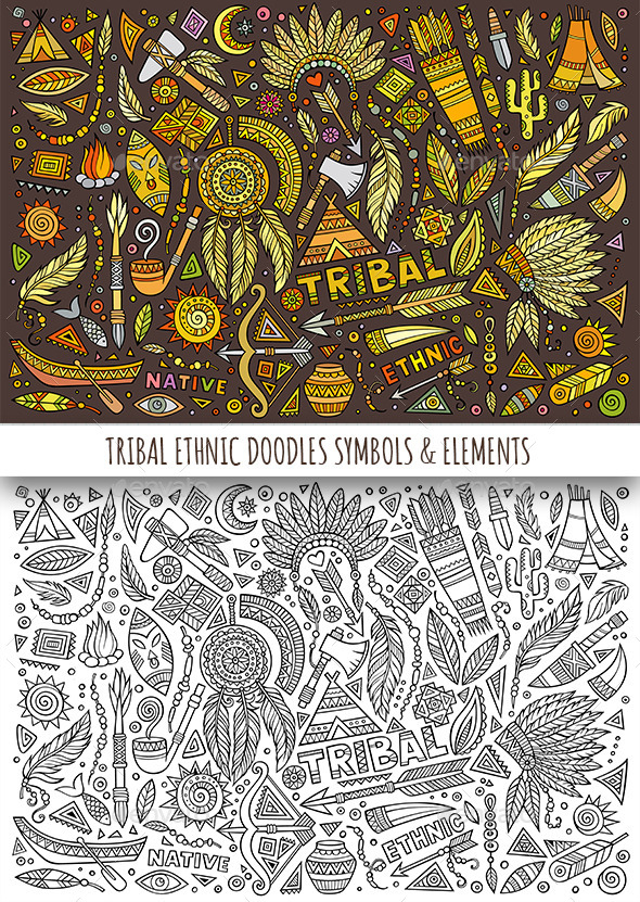 GraphicRiver Tribal Ethnic Doodles Elements 11825716