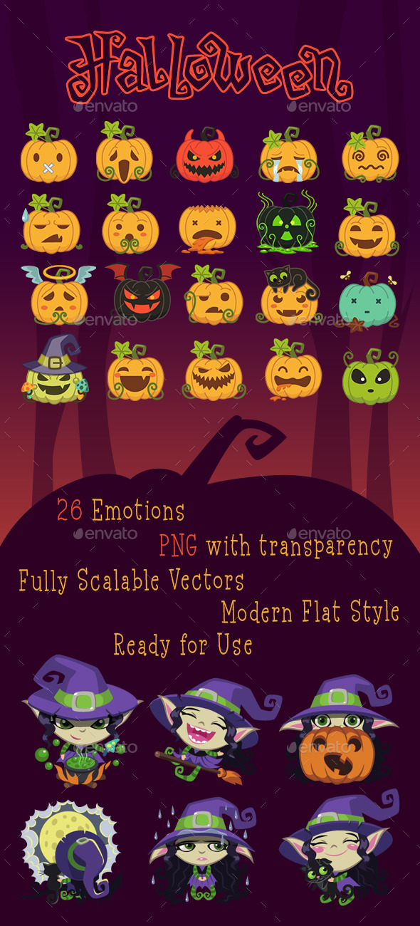 GraphicRiver Pumpkins and Witches Emotion Pack 11825763