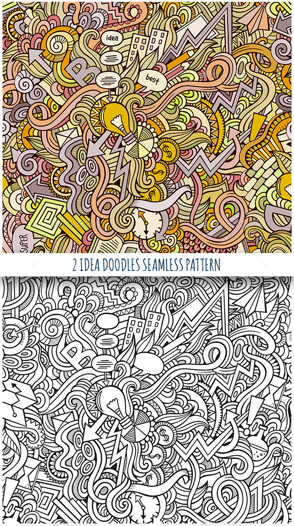 GraphicRiver 2 Idea Doodles Seamless Pattern 11825771
