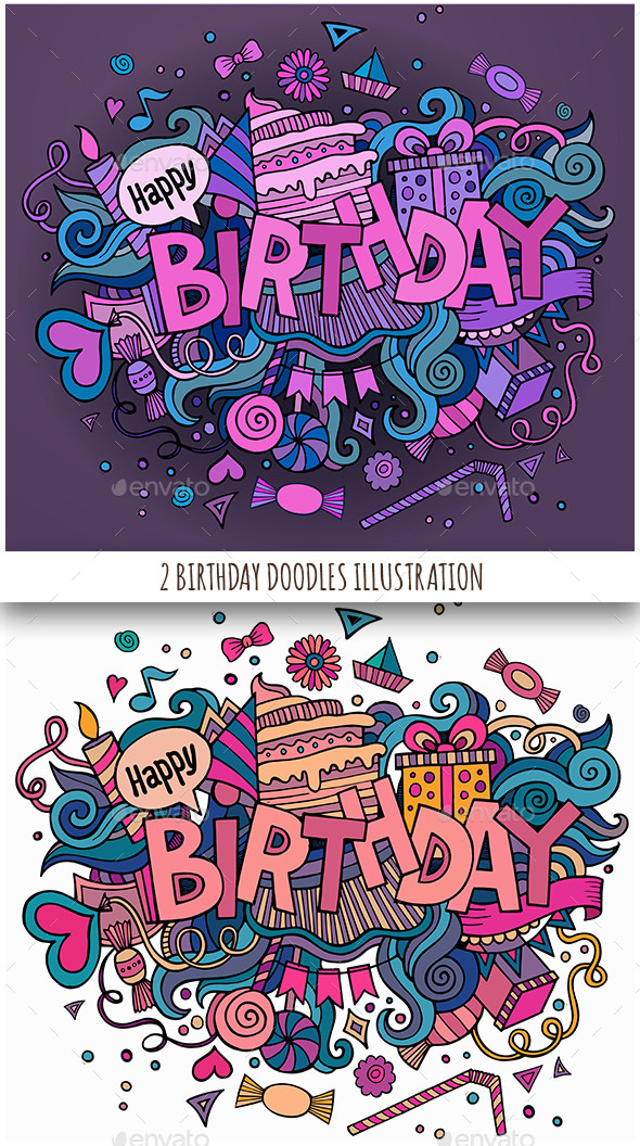 GraphicRiver 2 Birthday Doodles Designs 11825799