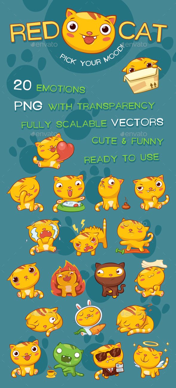 GraphicRiver Red Cat Emotion Pack 11825803