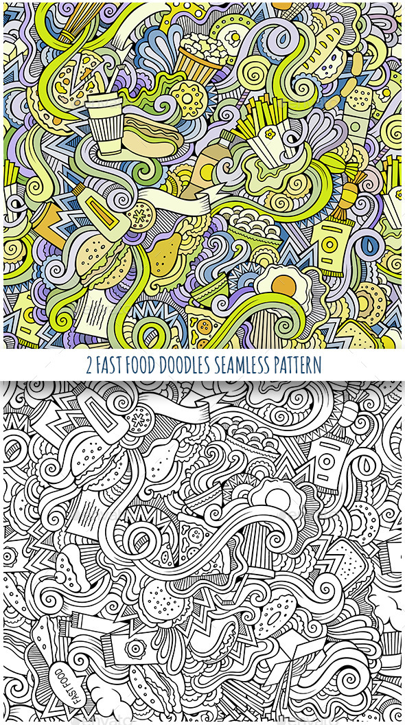 GraphicRiver 3 Fast Food Doodles Seamless Patterns 11825828