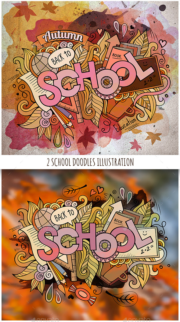 GraphicRiver 2 School Doodles Designs 11825841