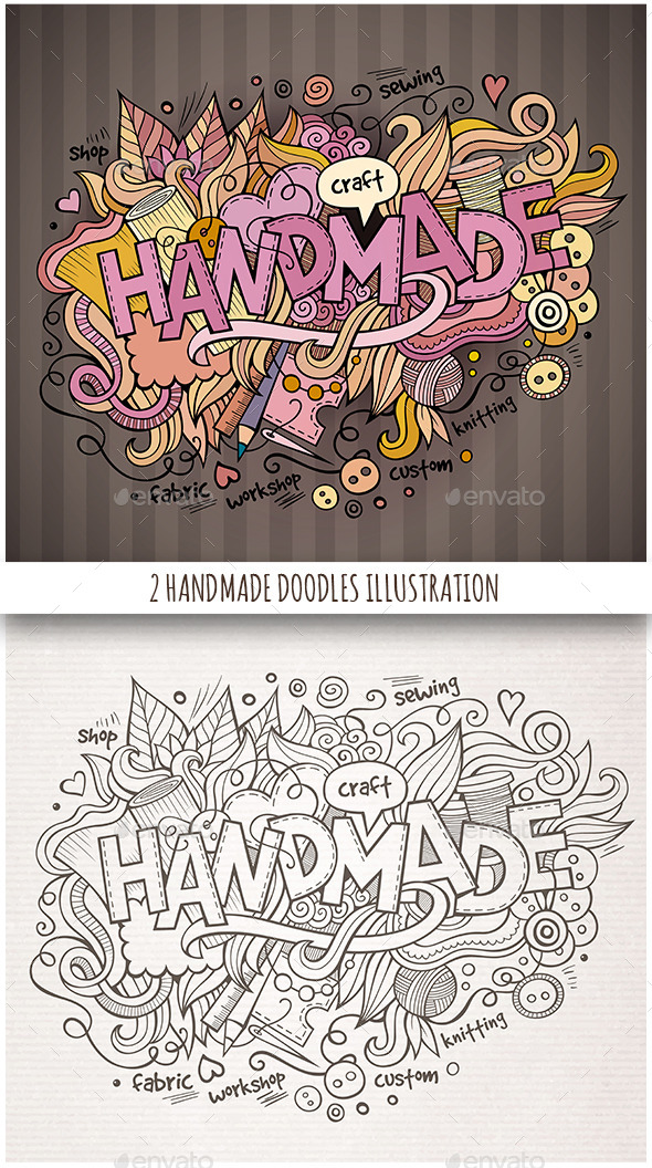 GraphicRiver 2 Handmade Doodles Designs 11825954
