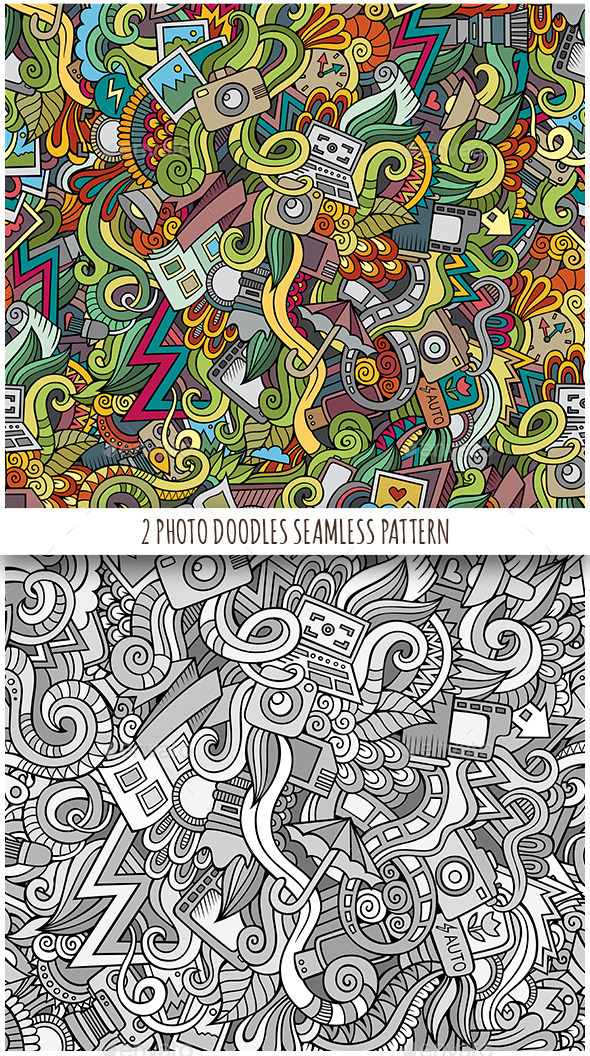 GraphicRiver 2 Photography Doodles Seamless Patterns 11826082