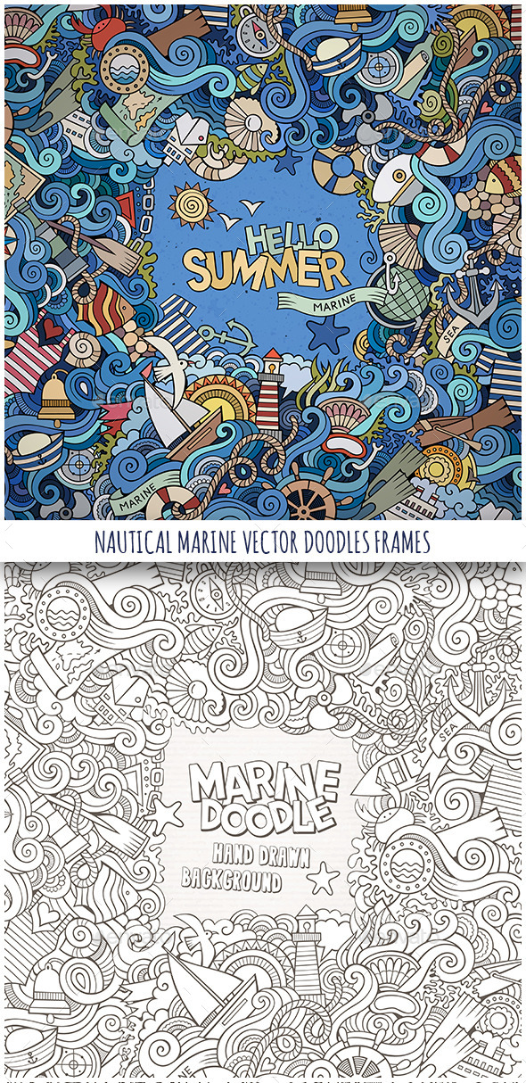 GraphicRiver 2 Nautical Marine Doodles Frames 11826214