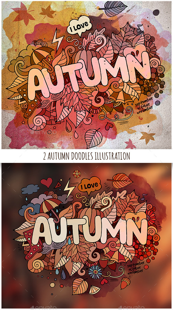 GraphicRiver 2 Autumn Doodles Designs 11826399