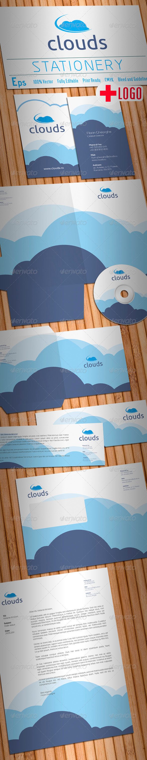 GraphicRiver Clouds Stationery 1188620