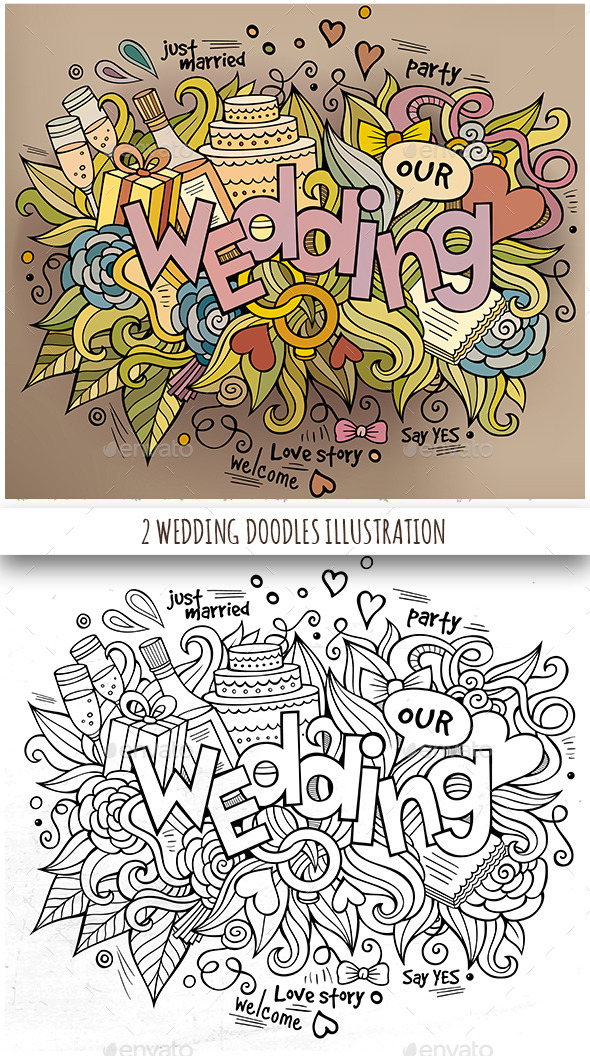 GraphicRiver 2 Wedding Doodles Designs 11826467