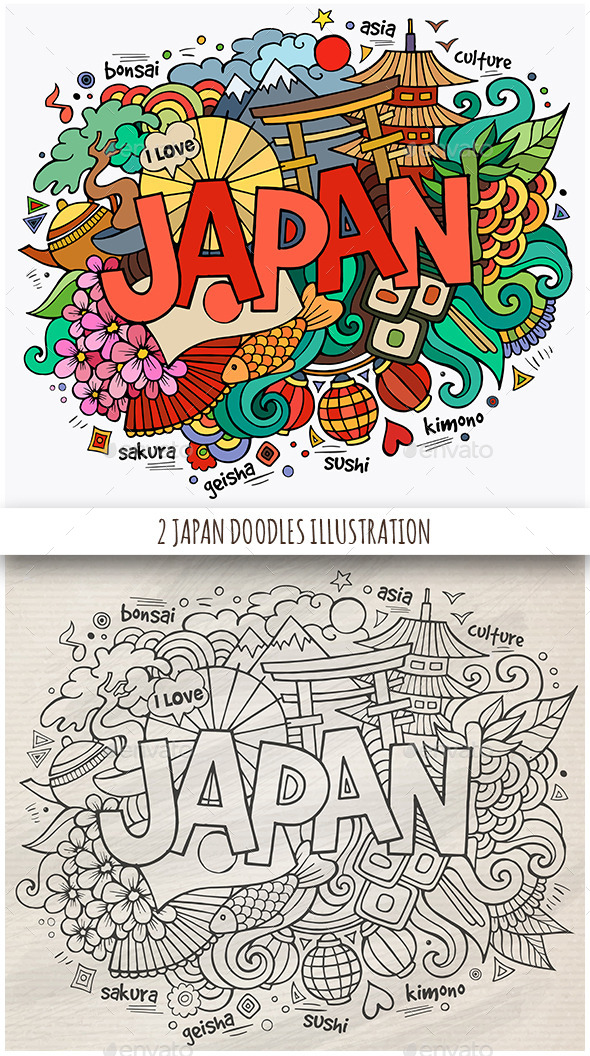 GraphicRiver 2 Japan Doodles Designs 11826645
