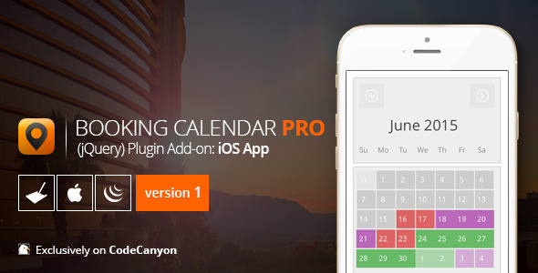 CodeCanyon Booking Calendar PRO jQuery add-on iOS App 11827122