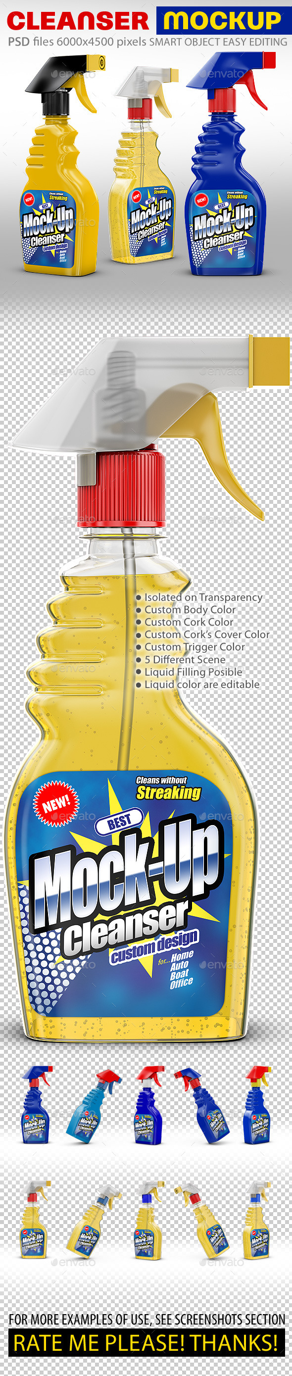 GraphicRiver Cleanser Bottle Mockups Liquid filling possible 11827432