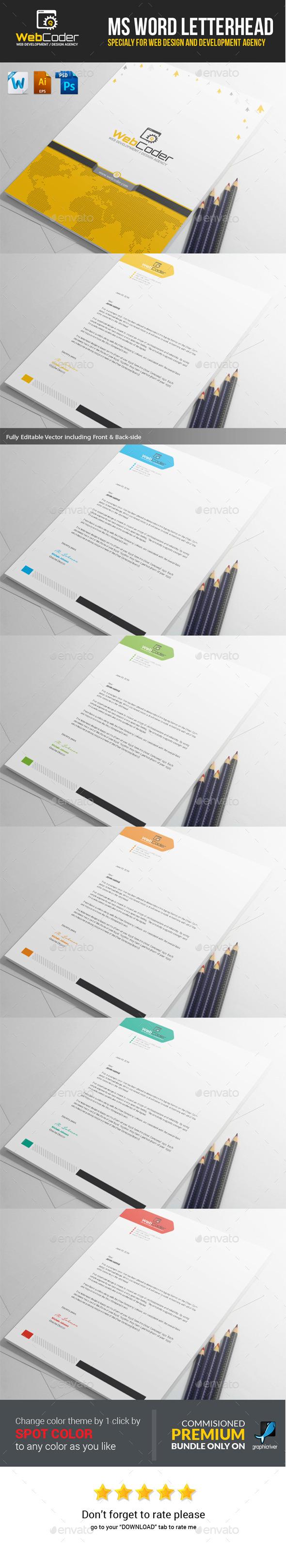 GraphicRiver Web Coder Web Design Agency Ms Word Letterhead 11827490