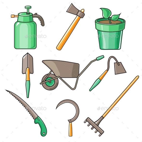 GraphicRiver Garden Tools Flat Design Illustration 11827521
