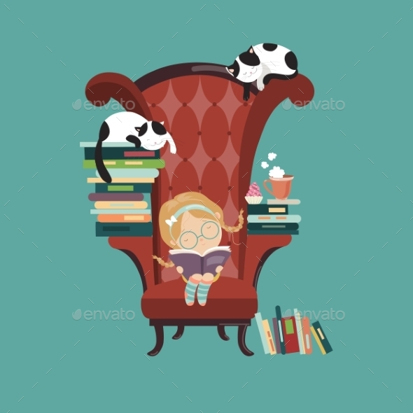 GraphicRiver Little Girl Reading a Book 11827604