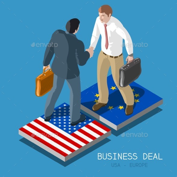 GraphicRiver USA Europe Deal People Isometric 11827666