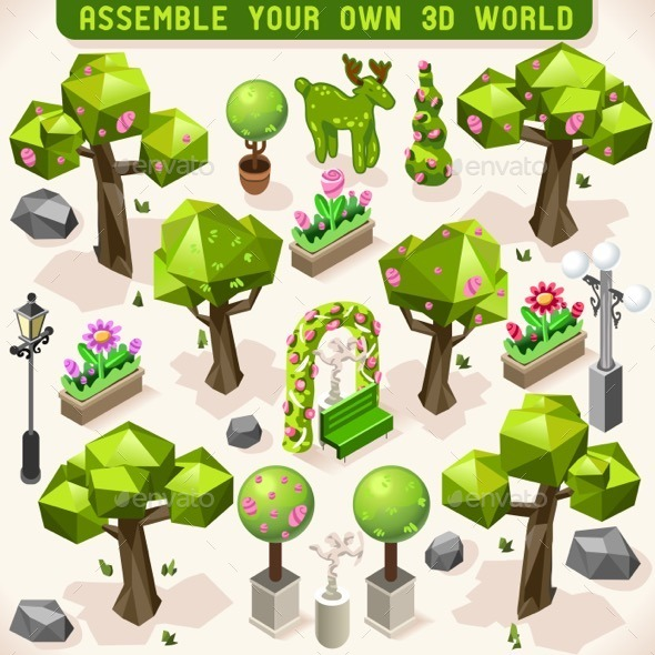 GraphicRiver Park Set Lowpoly 3D Isometric 11827685