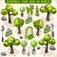 Park Set Lowpoly 3D Isometric - GraphicRiver Item for Sale