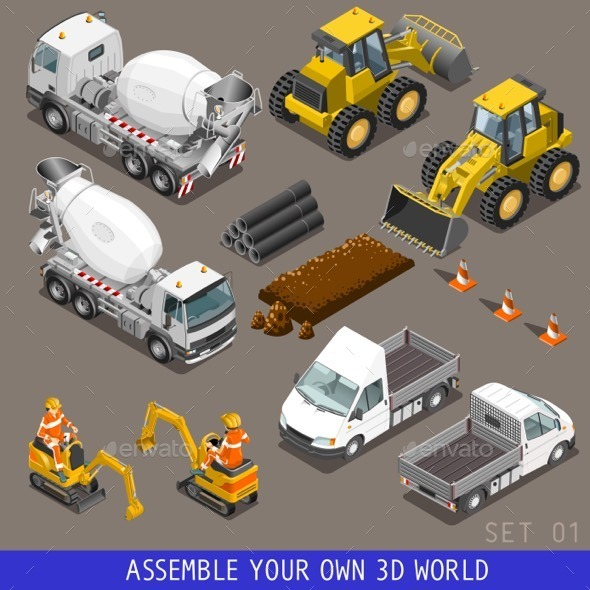 GraphicRiver City Construction Transport Isometric Icons 11827699