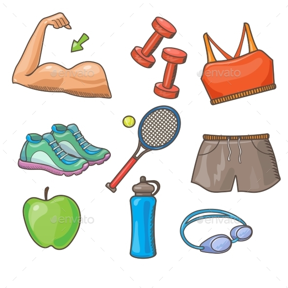 GraphicRiver Vector Flat Icons Set Of Fitness Tools 11828207