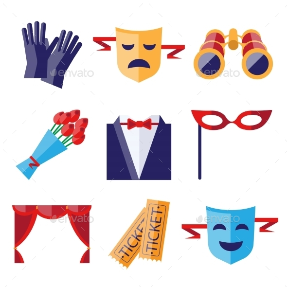 GraphicRiver Theater Performance Decorative Icons Set 11828211