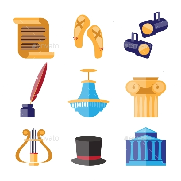 GraphicRiver Theater Performance Decorative Icons Set 11828212