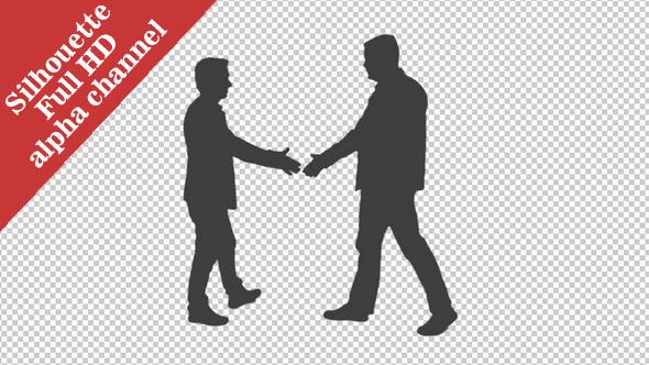 VideoHive Silhouette of Two Men Meeting 11828266