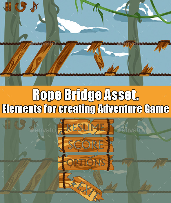 GraphicRiver Rope Bridge Adventure Game Asset 11828357