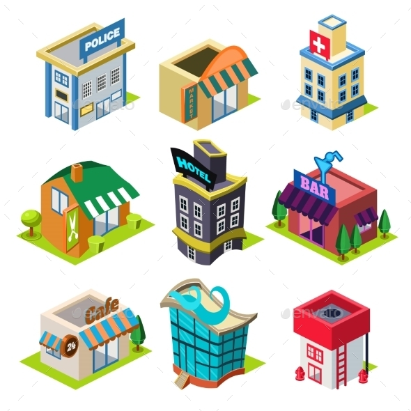 GraphicRiver Set Of The Isometric City Buildings And Shops 11828643