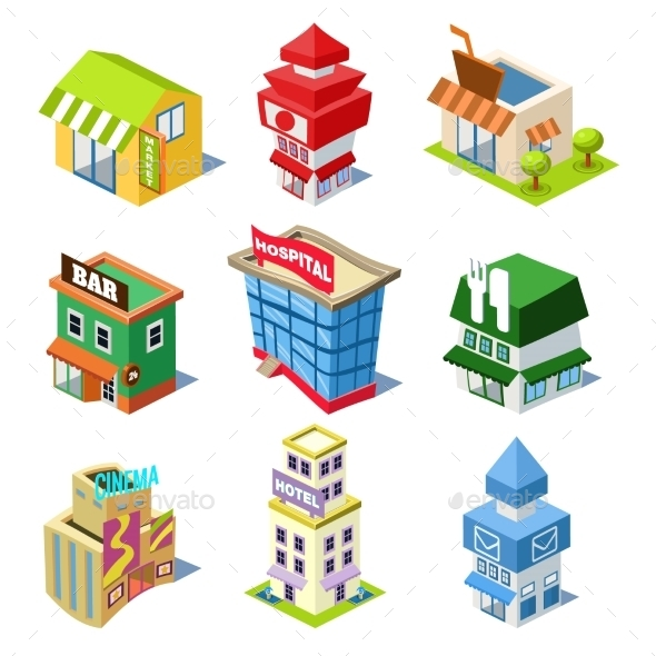 GraphicRiver Set Of The Isometric City Buildings And Shops 11828685