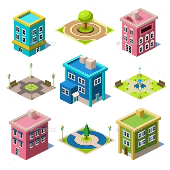 GraphicRiver Set Of The Isometric City Buildings And Shops 11828698