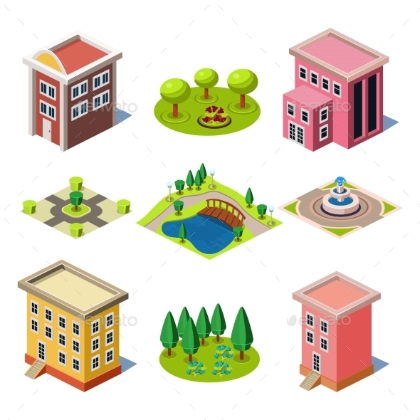 GraphicRiver Set Of The Isometric City Buildings And Shops 11828699