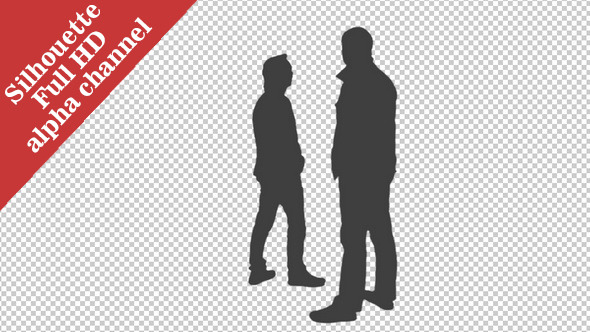 Silhouette of Two Men Looking at Something