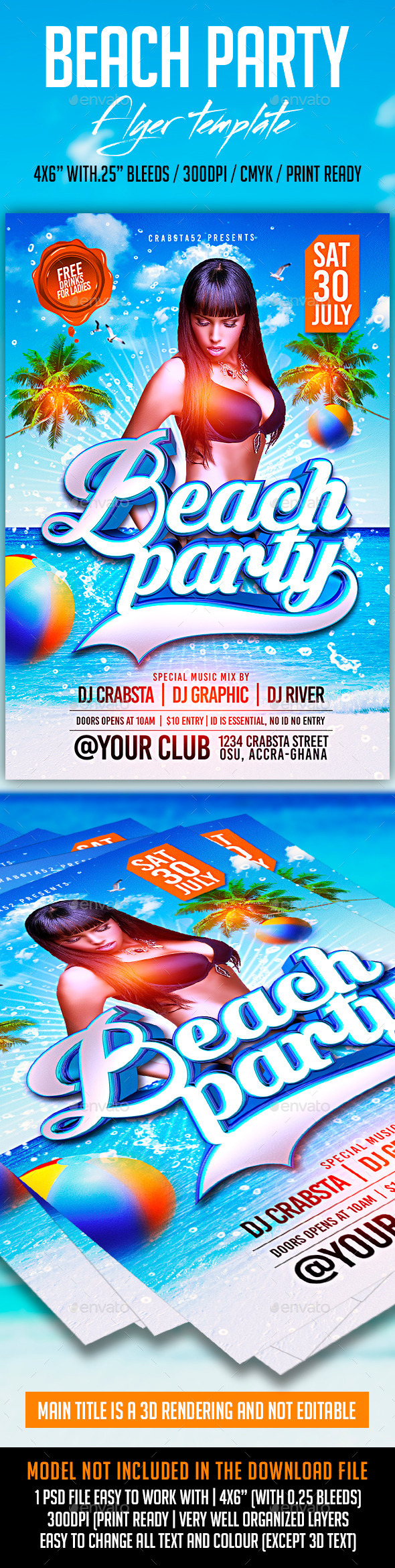 GraphicRiver Beach Party Flyer Template 11816534