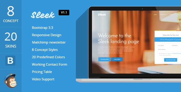 Download Sleek - Responsive Bootstrap 3 Landing Page  nulled download